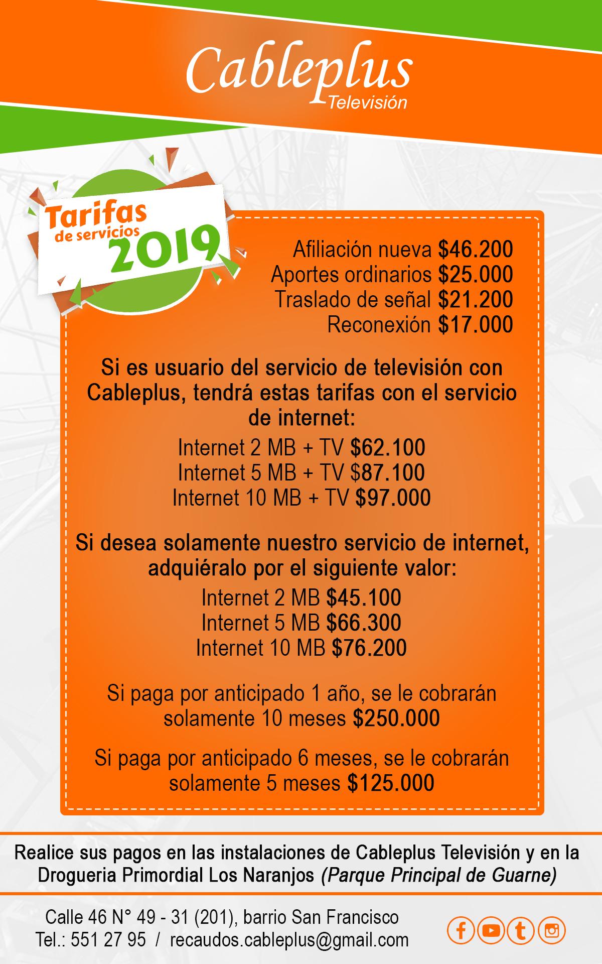 Tarifas de servicios 2019 - Cableplus